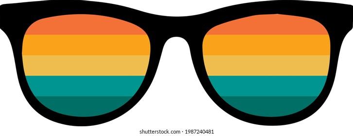 Summer retro sunglasses svg image  isolated on white background. Sunglasses with retro sun. Retro Vintage Sunset Sunglasses shirt design. Beach svg