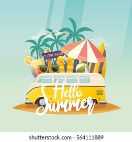 Summer retro van and surf boards, tropical trees or palms, hippie bus for campers and gull or mew. Exotic ocean beach or sea coast, mini vehicle and surfboard. Summer tourism, travel, trip and surfer