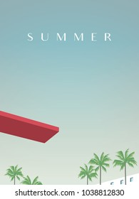 Summer retro vintage poster vector template with jumping board over swimming pool and palm trees in tourist, vacation resort. Promotion of summer holiday, recreation. Eps10 vector illustration.