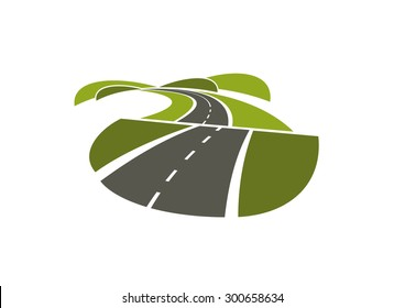 Summer road abstract icon with asphalt highway running through green hills. Isolated on white background, for transportation design