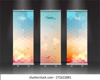 summer Roll up banner stand design. Vector.