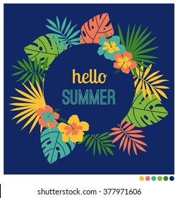 Summer rounded shape  frame vector with palm leaf and hibiscus