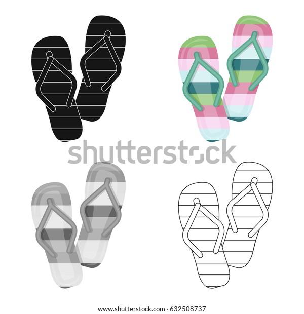 Summer rubber flip flops.Flip flops single icon in cartoon style vector symbol stock illustration.