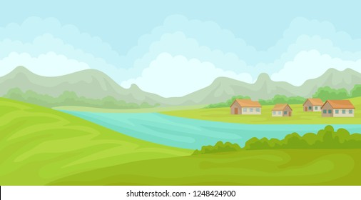Summer rural landscape with houses and river, field with green grass, agriculture and farming vector Illustration on a white background