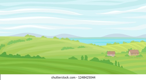 Summer rural landscape, meadow with green grass and river, agriculture and farming vector Illustration on a white background