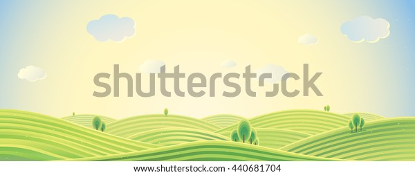 Summer rural landscape, panorama view, sunrise over the hills, can be used as background image.