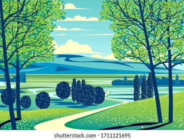 Summer rural landscape with trees, fields, meadows and hills in the background. Handmade drawing vector illustration. Retro style poster.