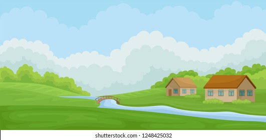Summer rural landscape with village houses and river, meadow with green grass, agriculture and farming vector Illustration on a white background