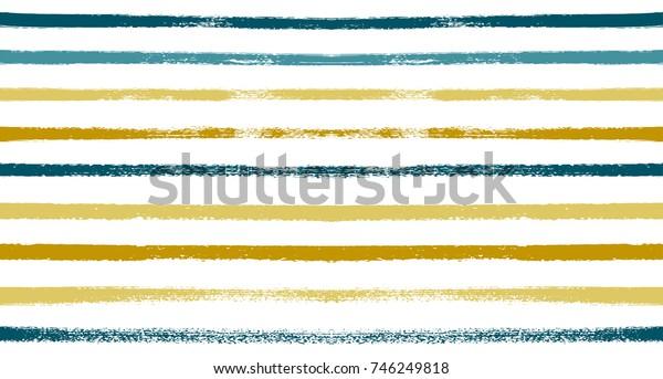 Summer Sailor Stripes Seamless Vector Pattern. Autumn Colors Textile Blue, Ocher, White, Yellow, Brown, Gray Print. Hipster Vintage Retro Stripes Design. Creative Horizontal Banner. Watercolor Prints.