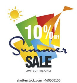 Summer sale 10 percent off discount offer sailboat color background vector