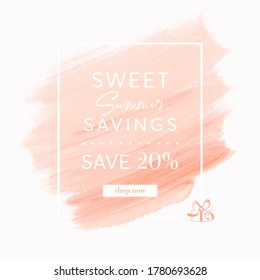 Summer Sale 20% off sign over peach art brush stroke paint abstract background vector. Perfect acrylic design for a shop banner.