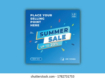 Summer sale 20% social media discount post template. Editable minimal square banner template. Blue and aqua background color social media posts and web internet ads design