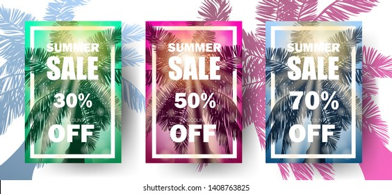 Summer sale 30% 50% 70% off discount flyer design with realistic sun shining black shiolette of palm. Summer style Can be used ad flyers banners card brochure postcrd web. Vector illustration. EPS 10.