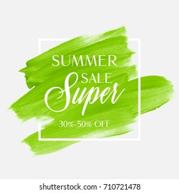 Summer Sale 30-50% off sign over watercolor art brush stroke paint abstract background vector illustration. Perfect acrylic design for a shop and sale banners.