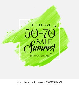 Summer Sale 50 - 70% off sign over watercolor art brush stroke paint abstract background vector illustration. Perfect acrylic design for a shop and sale banners.