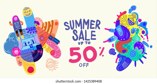 Summer Sale 50% discount Colorful Banner Doodle illustration