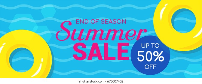 Summer sale 50% off banner vector illustration, Yellow rubber ring floating in the swimming pool.