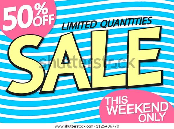 Summer Sale, 50% off, poster design template, special offer, vector illustration