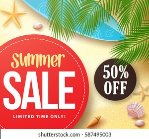 Summer sale with 50% off in red circle with palm leaves in the sand for summer seasonal marketing promotion banner. Vector illustration.