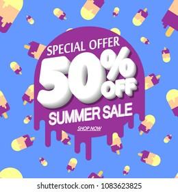 Summer Sale, 50% off, special offer, poster design template, vector illustration