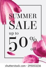 Sommerverkauf bis zu 50 Prozent Rabatt. Aquarell-Design. Webbanner oder Plakate für den elektronischen Handel, Online-Kosmetikshop, Mode