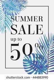 Sommerverkauf bis zu 50 Prozent Rabatt. Webbanner oder Poster mit Palmenblättern. EPS10
