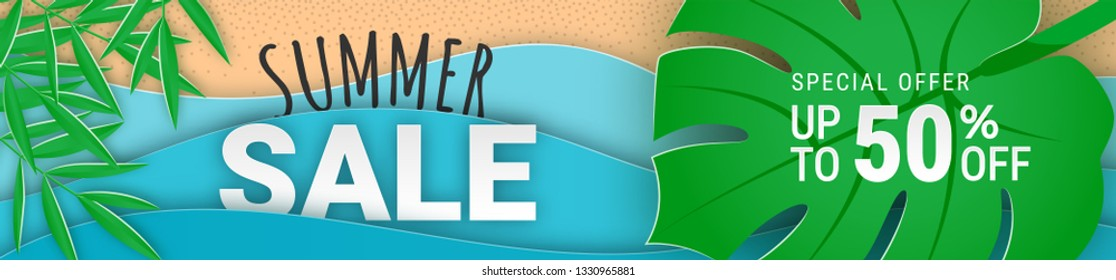 Summer sale 50 percent off banner concept with paper cut tropical beach vector background. Tropical palm leaves, paper waves and seacoast illustration. For banner, flyer, poster, app, web site design
