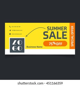 Summer sale 70% Off yellow background web banner template
