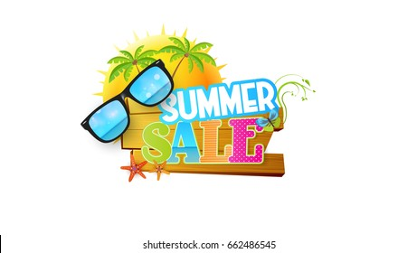 Summer Sale Abstract Vector Design on Wooden Board. Eps 10 Illustration.