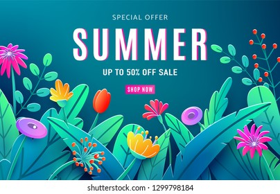Summer sale ad background with paper cut fantasy flowers, leaves, stem isolated on dark backdrop. Minimal 3d style floral background. Discount text offer 50 percent off. Vector illustration.
