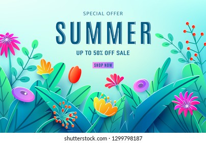 Summer sale ad background with paper cut fantasy flowers, leaves, stem isolated on light blue backdrop. Minimal 3d style floral background. Discount text offer 50 percent off. Vector illustration.