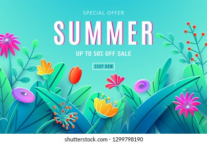Summer sale ad background with paper cut fantasy flowers, leaves, stem isolated on blue sky backdrop. Minimal 3d style floral background. Discount text offer 50 percent off. Vector illustration.