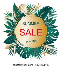 Summer SALE. Advertising banner with text and bouquets of tropical palm leaves on gold sun. Exotic botany design. Vector template for poster, social network, banner, woman product, season offers.
