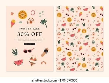 Summer Sale Announcement Card Template Design in Vector featuring summer icons.