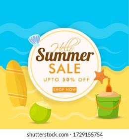 Summer Sale Background with Cocunut, Starfish, and Surfing Baord on Sea View Background.  - Shutterstock ID 1729155754