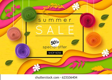 Summer sale background cut paper art style for banner, poster, promotion, web site, online shopping, advertising. Vector illustration.