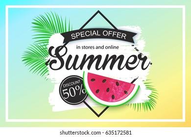 Summer sale background design for banner, flyer, wallpaper. Promotional discount shop materials, poster, brochure, voucher discount.