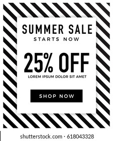 Summer sale background with elegant black and white colour. Vector illustration template, banners, Wallpaper, flyers, invitation, posters, brochure, voucher discount. 25% off.vector illustration