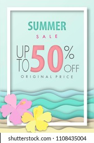 Summer sale background ,fifty percent off, beautiful beach paper art style with frame vector illustration template