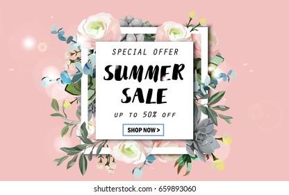 Summer sale background with flowers, ranunculus, succulent, eucalyptus. EPS10 vector illustration template. Banner, flyer, invitation, posters, brochure, voucher discount. Advertising