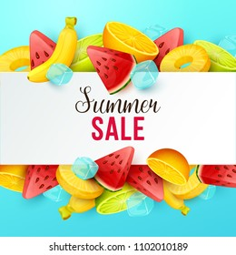 Summer sale background with fruits. Vector illustration.