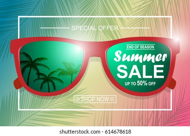 Summer sale background with glasses. Vector background for banner, poster, card, postcard, cover, brochure.