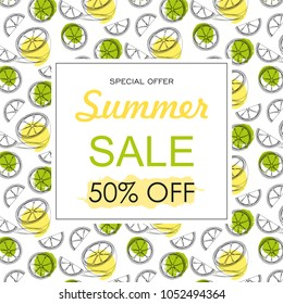 Summer sale background layout banners decorate with hand drawn citrus fruit . Vector illustration