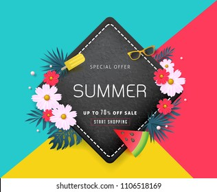 Summer sale background layout banners decorate with paper art tropical leaf and flower .voucher discount.Vector illustration template.