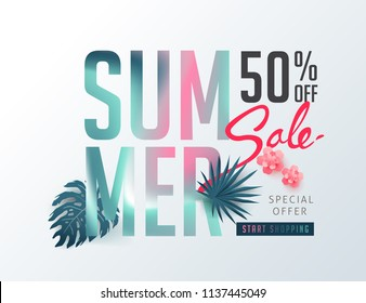 Summer sale background layout banners decorate with paper art tropical leaf vibrant bold gradient holographic .voucher discount.Vector illustration template.