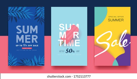 Summer sale background layout banners. voucher discount. Vector illustration template.