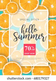 Summer sale background layout banners decorate with orange.voucher discount.Vector illustration template.