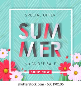 Summer sale background layout banners .voucher discount.Vector illustration template.