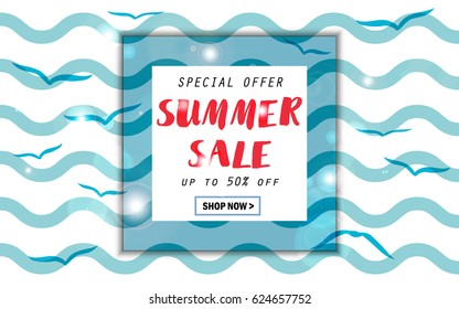 Summer sale background with sea, waves and birds, seagull. EPS10 vector illustration template organized in layers. Banner, flyer, invitation, posters, brochure, voucher discount. Advertising