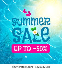 Summer Sale Background. Shining sun, Warm Sea and Palm Leaves.